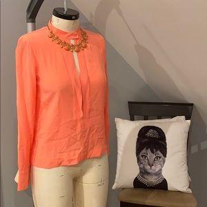 Bcbg coral key hole blouse